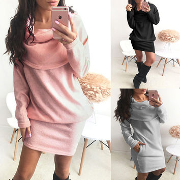 Long Sleeve Loose One Piece Dress [9609318735]