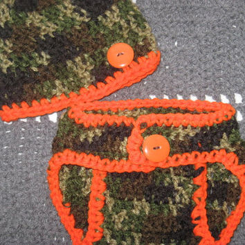 0-3 Months Little Hunter Camo Baby Diaper Cover and Baby Hat Set-  Baby Shower Gift, Ready to Ship for more sizes, check out my shop!