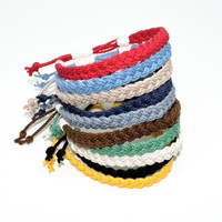 Adjustable Woven Anklet, Nautical Colors