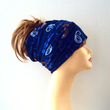 Dark Blue Paisley Head Band Women Men Yoga Fitness Workout Running Dancing Beach Tube Bandana Cowl Rasta Dreadlock Extra Wide Head Band
