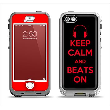The Keep Calm & Beats On Red Apple iPhone 5-5s LifeProof Nuud Case Skin Set