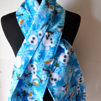 Olaf Fleece Scarf.  Fringed fleece Scarf Ready to ship, Olaf Snowman from Frozen.