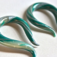 Emerald Polymer Clay Gauged Hook Earrings by KatyMarieCreations