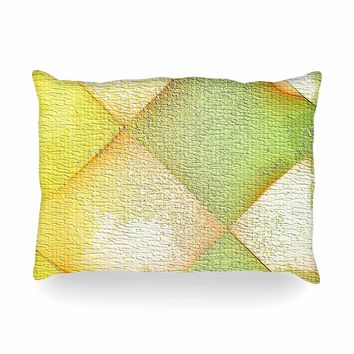 "Mimulux Patricia No ""Citrus Grunge"" Yellow Pastel Digital Oblong Pillow"