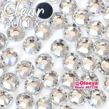 Clear Crystal DMC Hotfix Rhinestones Flatback Glass Iron On Hot Fix Rhinestones Iron On Strass For Transfer Motif Designs