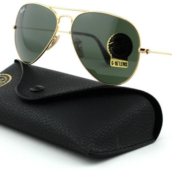 Ray-Ban RB3025 Aviator Large Metal Unisex Aviator Sunglasses (Gold Frame/Dark Gr