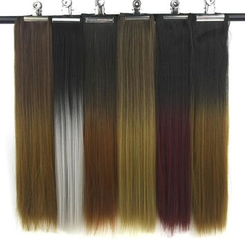 Soowee 20 Colors Black To Gray Ombre Hair High Tempreture Fiber Synthetic Hair Pad Straight Clip In Hair Extensions Hairpiece