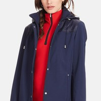 Women's Lauren Ralph Lauren Quilt Trim Soft Shell Jacket with Detachable Hood,