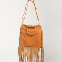 Fringed Out Leather Bag - Chestnut