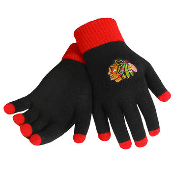Chicago Blackhawks Glove Solid Outdoor Winter Stretch Knit Embroidered Licensed