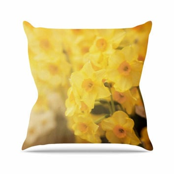 "Angie Turner ""Dreamy Daffodils"" Yellow Nature Outdoor Throw Pillow"
