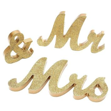 "Large 6"" Gold Mr & Mrs Wedding Sign Table Decor (Solid Wood in Gold Glitter)"