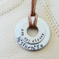 One Day Closer Long Distance Relationship Keychain : Latitude / Longitude / Military