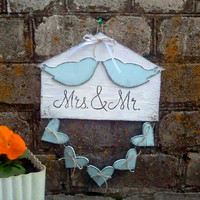 Rustic wedding decor, Mr. and Mrs., wedding gift, newlywed gift for couple,  icy blue, heart home decor, love birds sign, wall art