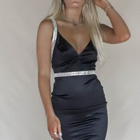 The Hour Black Rhinestone Mini Dress