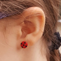 Stud earrings miraculous ladybug Marinette fashion cute polymer clay geekery geek jewelry hand made gift humor for kids her women birthday