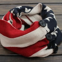 Women's Knit Infinity Scarf, American Flag Scarf, Infinity Knit Scarf, Patriotic Scarf, Flag Knit Scarf, Winter Knit Scarf, USA Knit Scarf