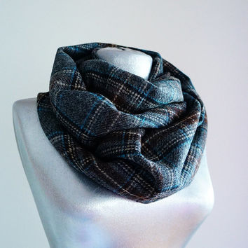 Handmade Plaid Infinity Scarf - Wool - Gray Brown Blue Beige - Winter Autumn Scarf - Men Unisex Scarf