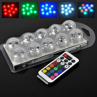 10pcs Wedding Decoration Remote Control Underwater Submersible LED Party Tea Mini LED Light For Valentine's Day confession