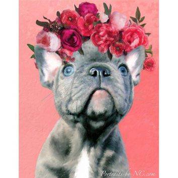 Blue English Bulldog Puppy Digital Portrait