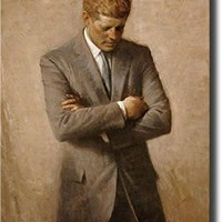 John F. Kennedy Full Portrait, JFK Wall Picture Art on Stretched Canvas, Ready to Hang!