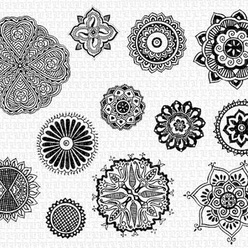 Mandalas Mehndi Decorative Henna Tattoo Hindu Design Motifs Vintage Clip Art Illustration HQ 300dpi Digital Printable Image Graphic. Img1575