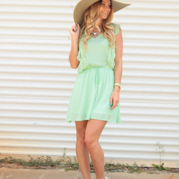 In the Details Mint Lace Bib Dress - Lotus Boutique
