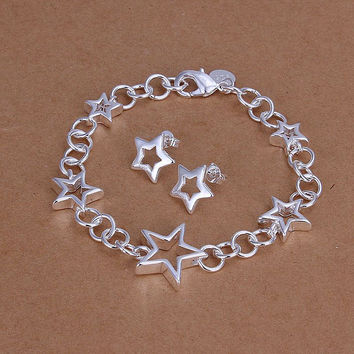 silver plated see star jewelry sets necklace bracelet bangle earring ring SMTS176 MP