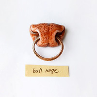 Brooch Bull Nose, animal jewelry, brown bull