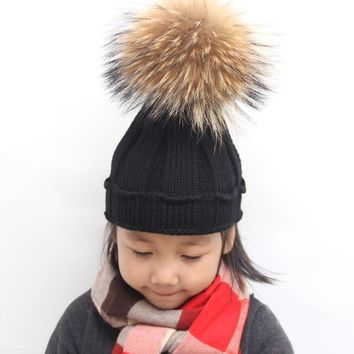 Retail  Winter Raccoon Fur Hat For  Boys 100% Real big Fur pompoms Ball  Beanies Cap Crochet  Knitted Hats
