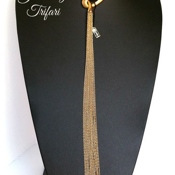 Jewels by Trifari Gold Tasseled Chain Necklace