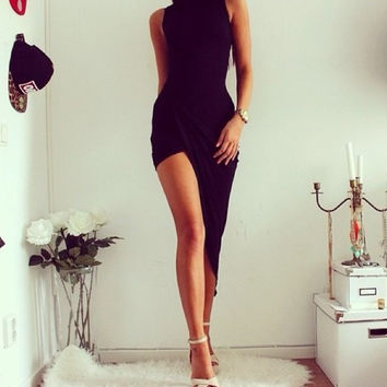 Black Irregular Long Bodycon Club Dress
