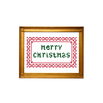 Merry Christmas. Cross stitch Christmas pattern for Christmas tree ornament.