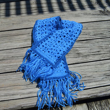 Crochet Scarf, Handmade crochet scarf, blue scarf, winter scarf, neck warmer, blue colored scarf, Christmas gift