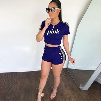 Victoria's secret PINK Fashion new high quality casual shorts women letter print two piece