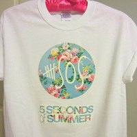 5SOS Five Seconds Of Summer Floral Logo White by CandyShopGifts