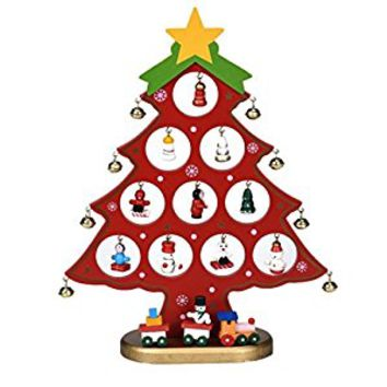 Wooden Christmas Tree Ornaments with Hanging Mini Figures and Bells, Red