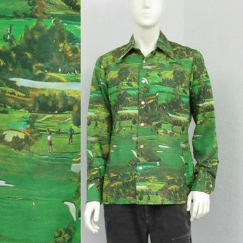 Vintage 70s Green Disco Shirt, Novelty Print Shirt, Golf Shirt, Mens Retro Shirt, Polyester Shirt, Big Collar Shirt, Green Shirt, Size M