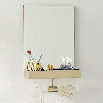 Ava Frosted Acrylic Mirror Jewelry Storage