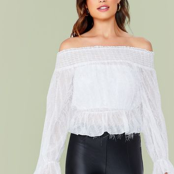 Off Shoulder Frill Trim Shirred Fringe Chiffon Top Without Bandeau