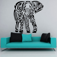 Elephant face living room wall decal