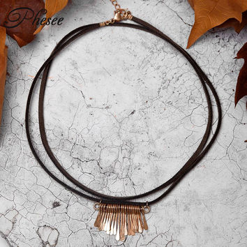 Phesee Punk Vintage 2 Layers Vintage Black And Brown Leather Rope Choker Necklace Tassel Alloy Pendants Necklaces For Women