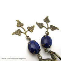 Art Deco Earrings - Brass Leaf - Lapis Lazuli Blue Glass - Elegant Jewelry