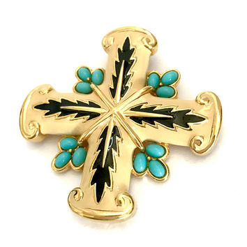 Jomaz Enamel Maltese Cross Brooch/Pendant, Off White & Black Enamel, Opaque Turquoise Oval Cabochons, Designer Signed, Vintage Gift for Her