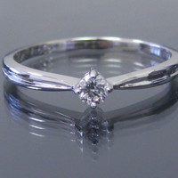 Conflict-Free Round Brilliant Diamond Promise Ring, Hand Set. Beautiful, Classic. For Any Age. White Gold, Solitaire Ring