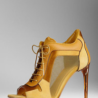 Kidskin and Mesh Panel Ankle Boots