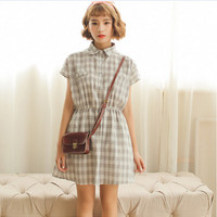Plaid Short-Sleeve Button-up Collared Dress With Pocket