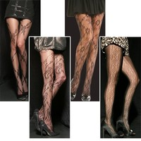 Angelina Assorted-Pack, Patterned Fishnet Pantyhose, 4 Designs Per Pack, One size fits all.