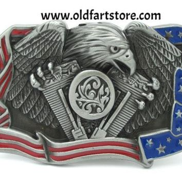 Eagle American Flag Motorcycle Engine Belt Buckle