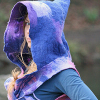 Pixie vest- fairy vest with hood - felted vest - hippie vest - psy vest - elven top- elf vest - hooded vest